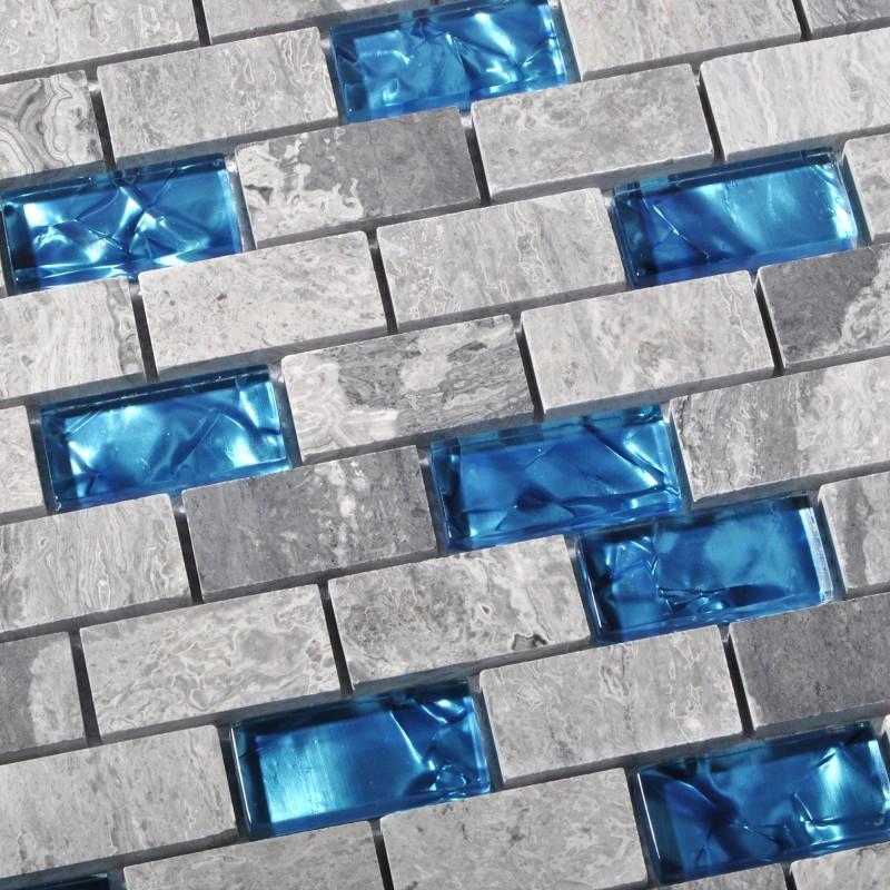 Blue Glass Tile Kitchen Backsplash Subway Marble Bathroom