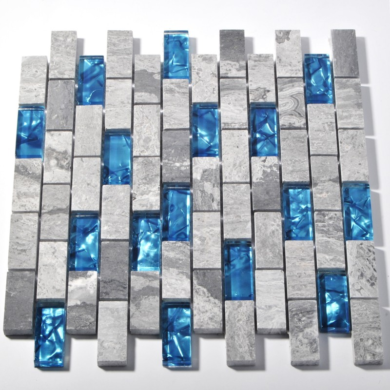 Mosaic Glass Tile Backsplash Blue Kitchen