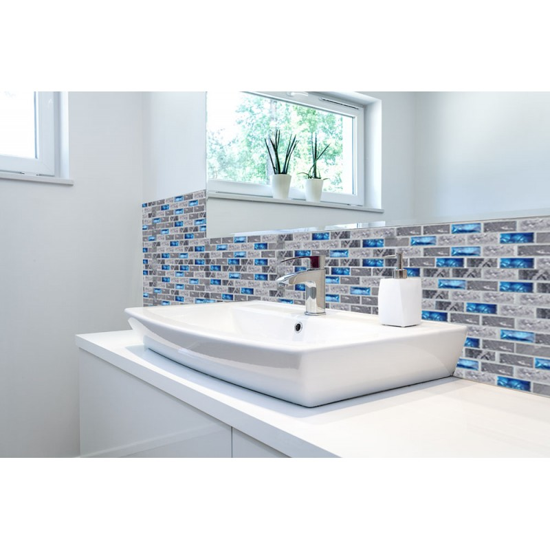 blue glass tile kitchen backsplash subway marble bathroom wall shower