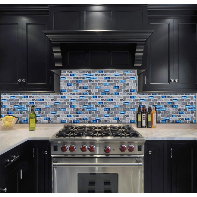 blue glass tile kitchen backsplash subway marble bathroom wall ...