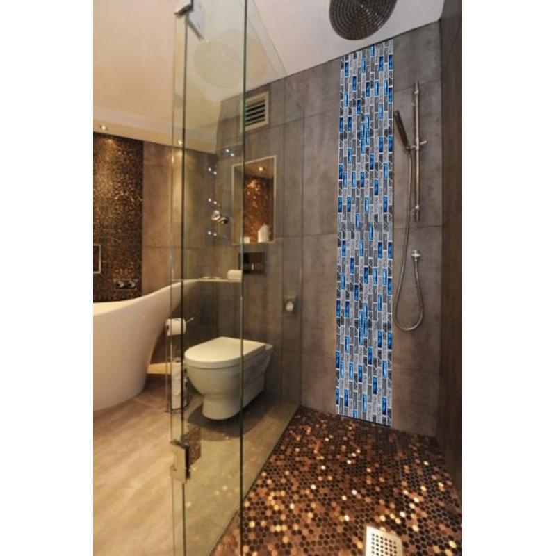 blue glass tile kitchen backsplash subway marble bathroom wall ...