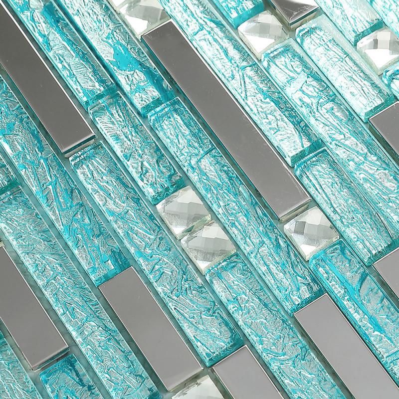 Stainless Steel Backsplash Blue Glass Mosaic Tiles Kitchen