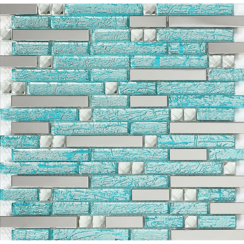 Stainless Steel Backsplash Blue Glass Mosaic Tiles Kitchen Back Splash  Cheap Diamond Mosaic Subway P116