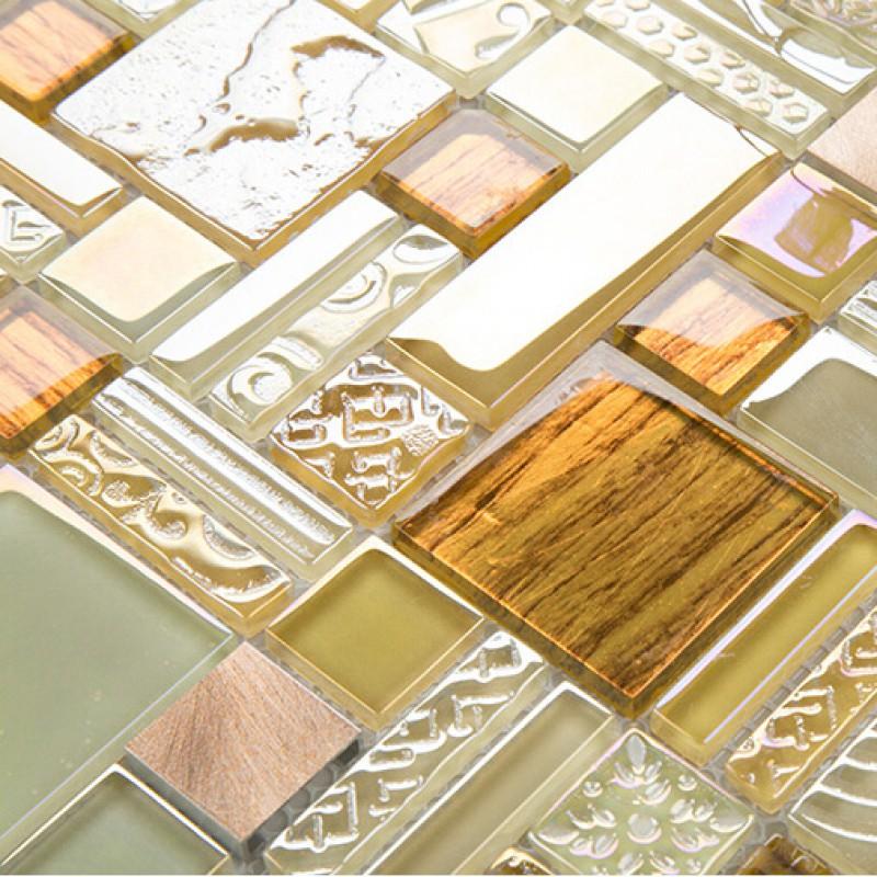 Yellow Crystal Glass Tile Backsplash Ideas Bathroom Brushed ...