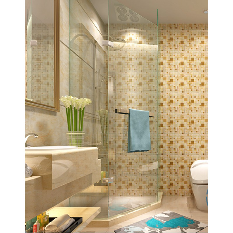 Glass Tiles In Bathroom: Yellow Crystal Glass Tile Backsplash Ideas Bathroom