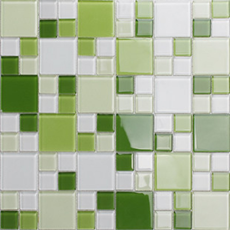 Green Glass Mosaic Window Countertop Crystal Glass Tile Backsplash Bathroom Mirror Wall Tiles