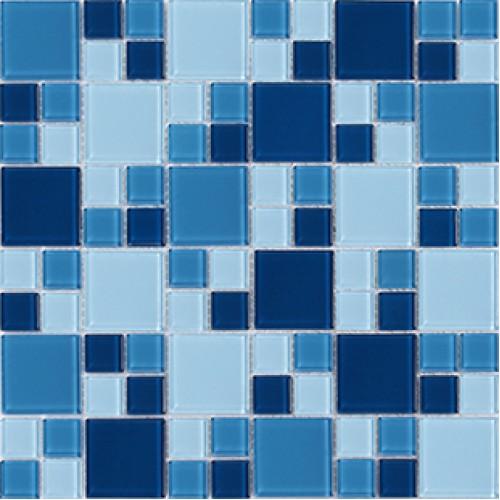 blue glass mosaic sheets bathroom mirror wall tiles crystal glass tile