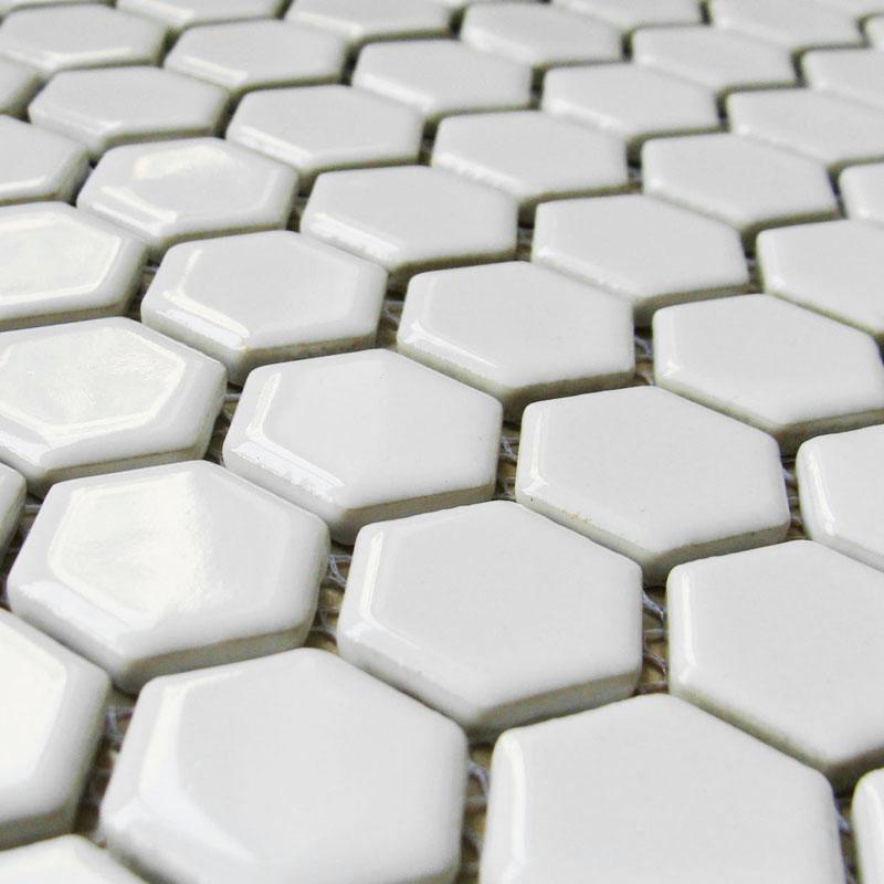 Small Hexagon Porcelain Tile White Shiny Porcelain Tile Non Slip