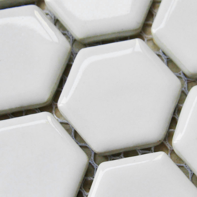Small Hexagon Porcelain Tile White Shiny Non Slip Washroom Wall Tiles Shower