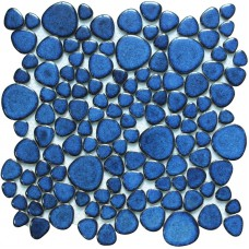 Blue porcelain pebble tiles heart-shaped glazed wall tile mosaic kitchen backsplashes swimming pool tile flooring PPT618A