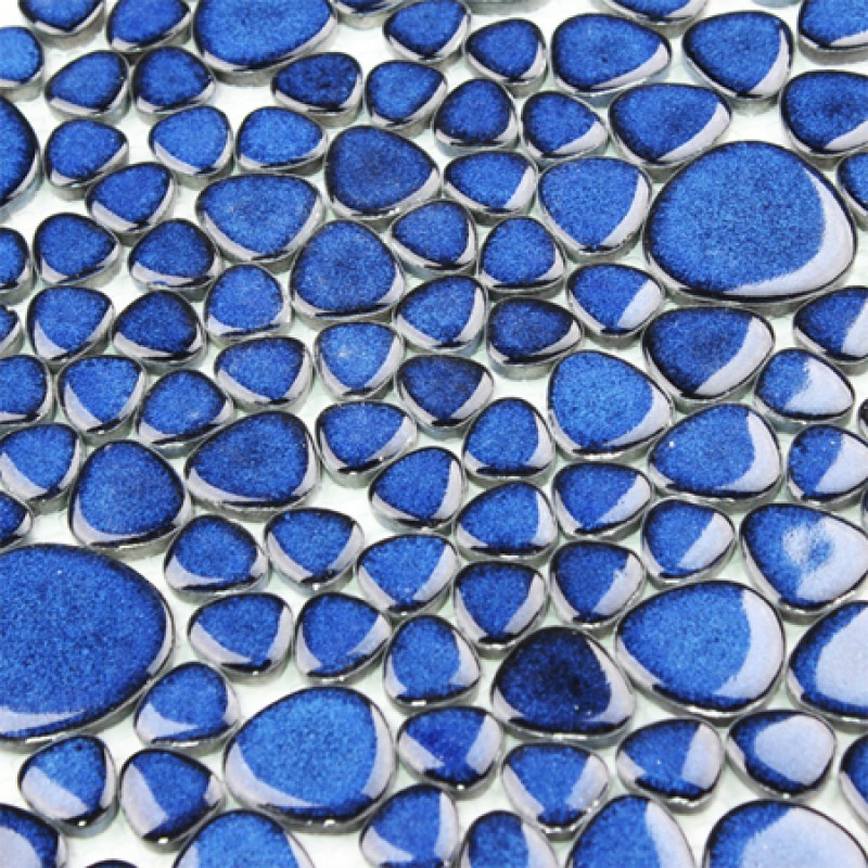 Blue Porcelain Pebble Tiles Heart Shape Glazed Wall Tile Mosaic