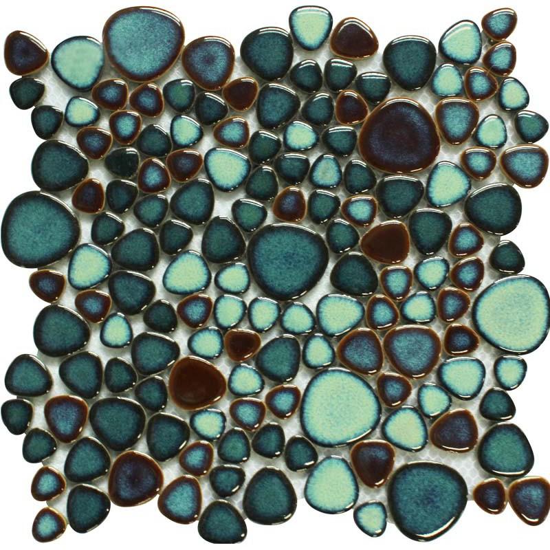 Green Porcelain Pebble Tile Heart Shaped Mosaic Glazed Wall Tiles