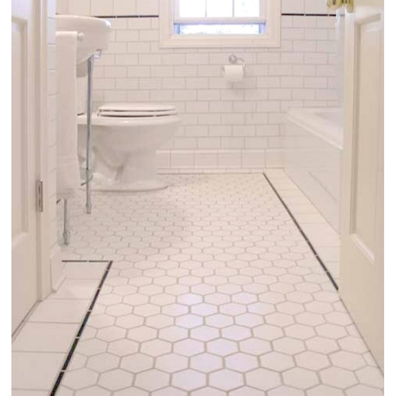 Hexagon Porcelain Tile White Matte Non Slip Washroom Wall Tiles Shower