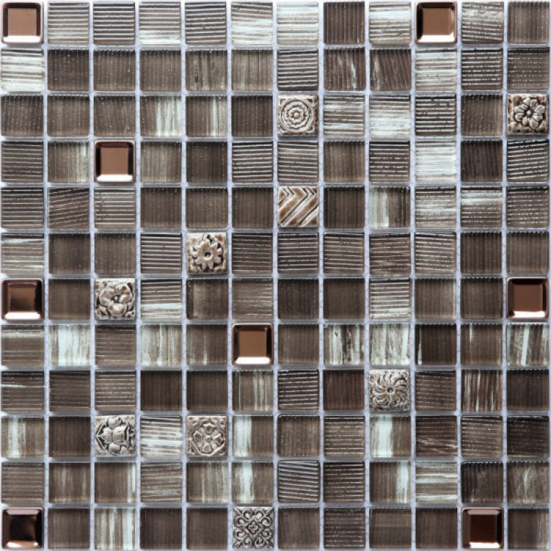 Mosaic Tile Metal Glass Blend Mosaic Kitchen Backsplash Tile
