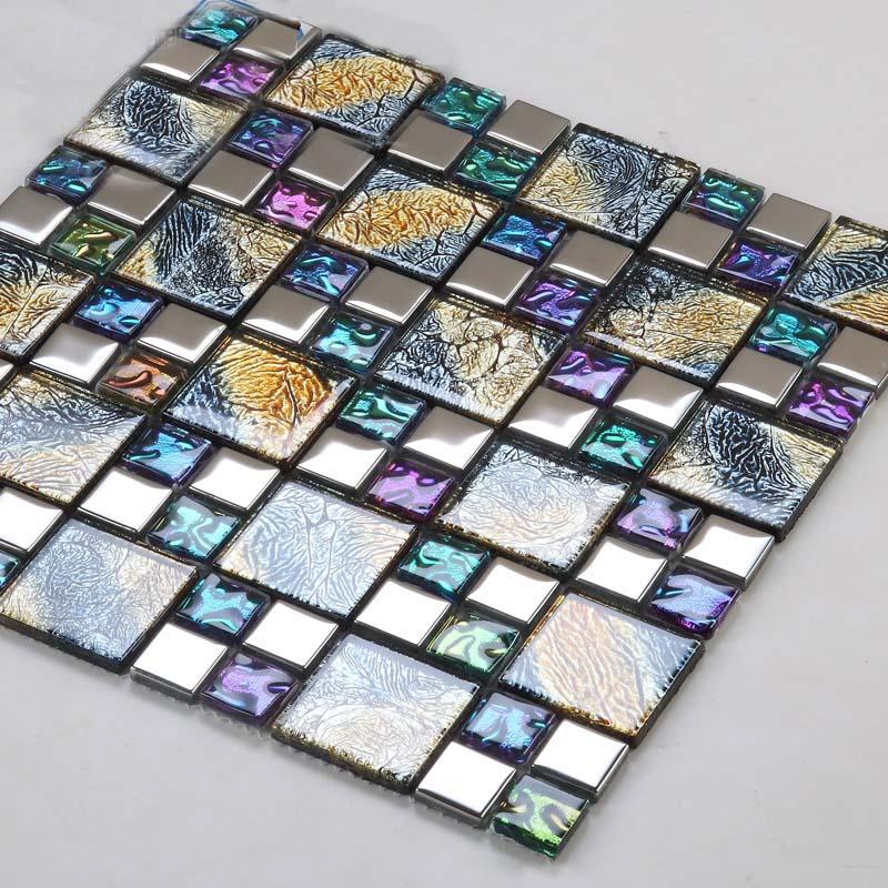 26 Iridescent Gl Mosaic Tile Brick Plating Crystal Wall Backsplash Purple Bathroom Mirror Frame Designs