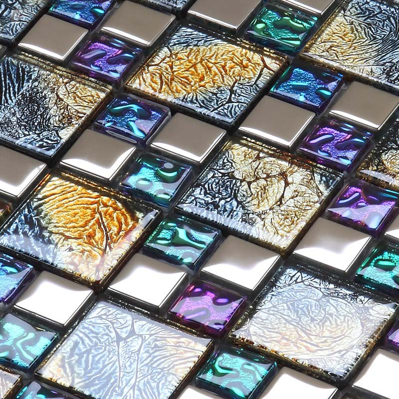 Iridescent glass mosaic tile brick plating crystal glass for Small glass backsplash tiles