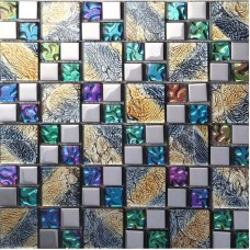 Iridescent glass mosaic tile brick plating crystal glass wall tile backsplash purple bathroom mirror frame designs PGT1391