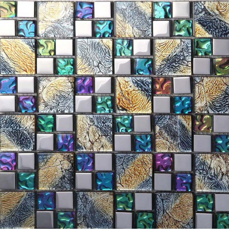 iridescent glass mosaic tile brick plating crystal glass wall tile backsplash purple bathroom mirror frame designs