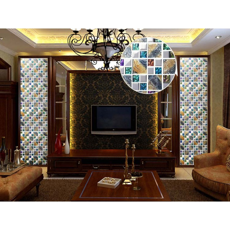 Iridescent Glass Mosaic Tile Brick Plating Crystal Glass