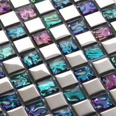 Plated mosaic glass tiles backsplash ideas bathroom wall shower decor iridescent tile patterns for kitchen backsplashes PGT151