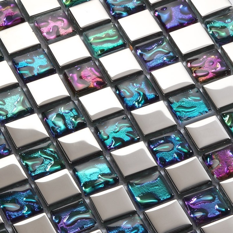 Plated mosaic glass tiles backsplash ideas bathroom wall shower decor iridescent tile for Glass mosaic tile backsplash bathroom