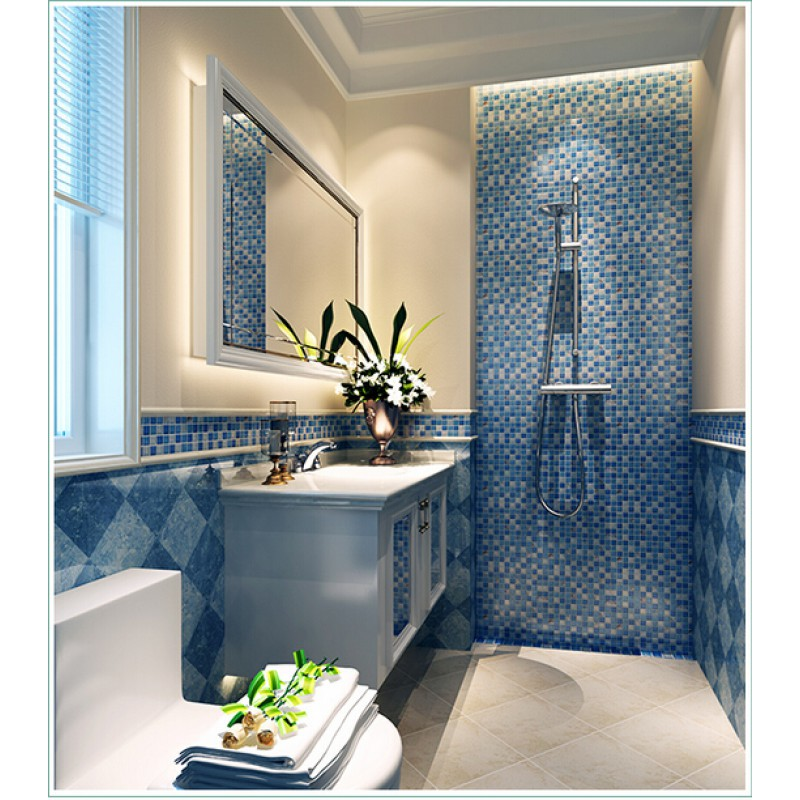 Crystal Resin Conch Tile Kitchen Backsplash Bathroom Flooring Sea Blue  Crackle Glass Bar Table Shower Wall Tiles ...