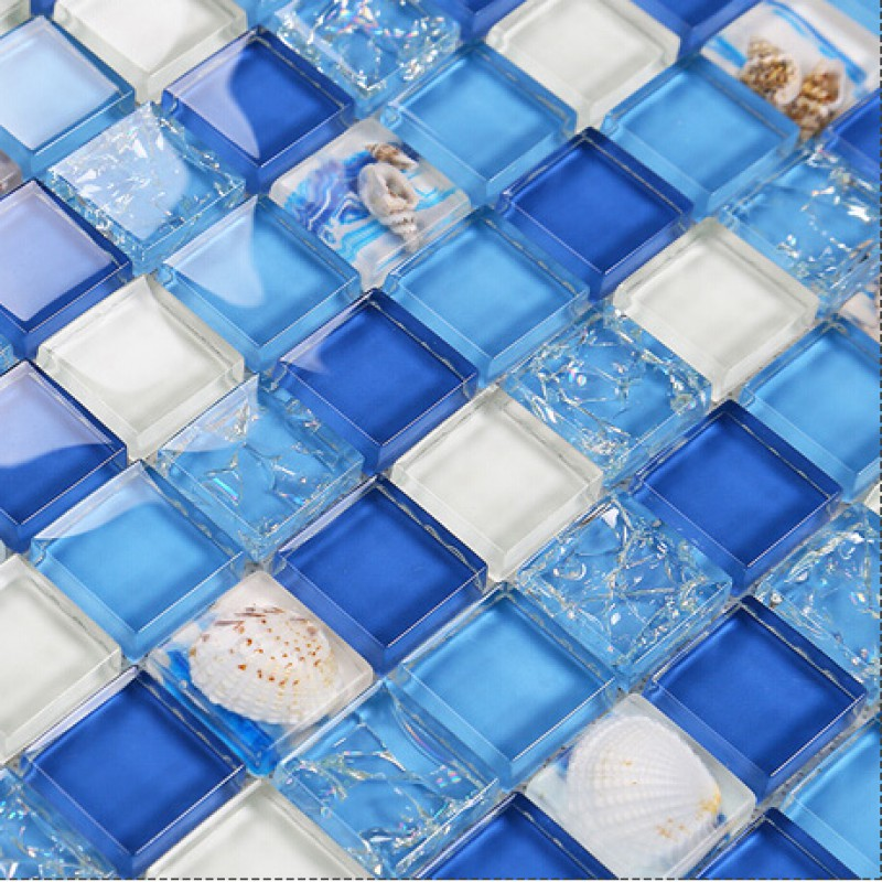 Crystal resin conch tile kitchen backsplash bathroom flooring sea blue crackle glass bar table for Sea glass mosaic tile bathroom