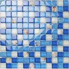 Crystal resin conch tile kitchen backsplash bathroom flooring sea blue crackle glass bar table shower wall tiles design KLGT18