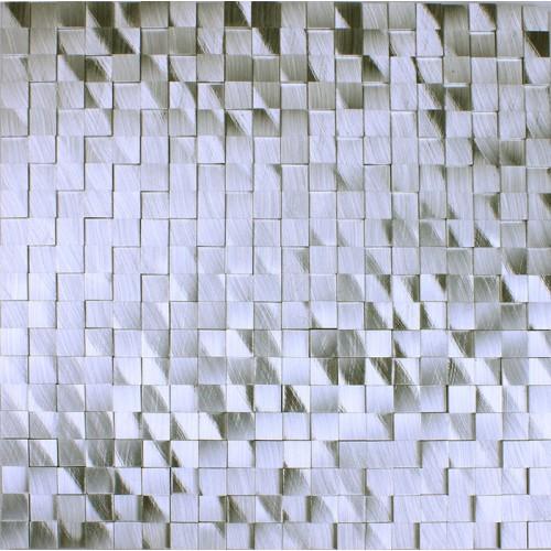 brushed aluminum mosaic tile kitchen wall backsplash silver metal tile