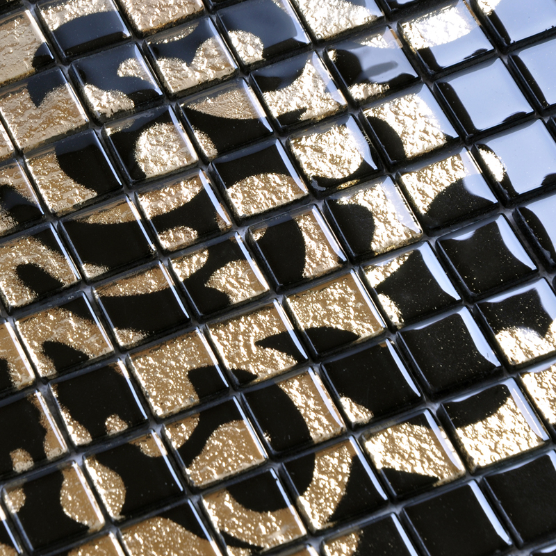 Marble Floor Tile Mosaic Murals : Glass mosaic tile murals black and gold crystal backsplash