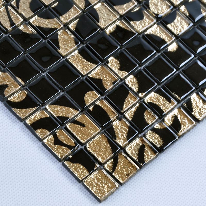 Glass Mosaic Tile Murals Black And Gold Crystal Backsplash