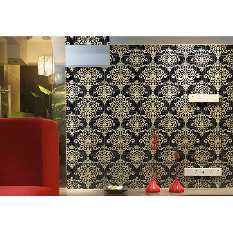 Gl Mosaic Tile Murals Black And Gold Crystal Backsplash Tmf007 Plated Puzzle Wall Tiles Bathrooms
