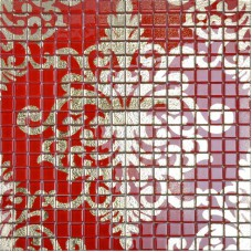 Crystal glass tile backsplash gold and red mosaic tile murals TMF008 plated glass patterns puzzle wall tiles bathroom