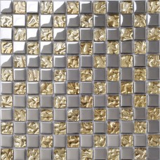 Crystal Glass Tile Sheets Metal Coating Tiles Mosaic Glass Tile Backsplash Kitchen Wall Borders Bathroom Design DT51