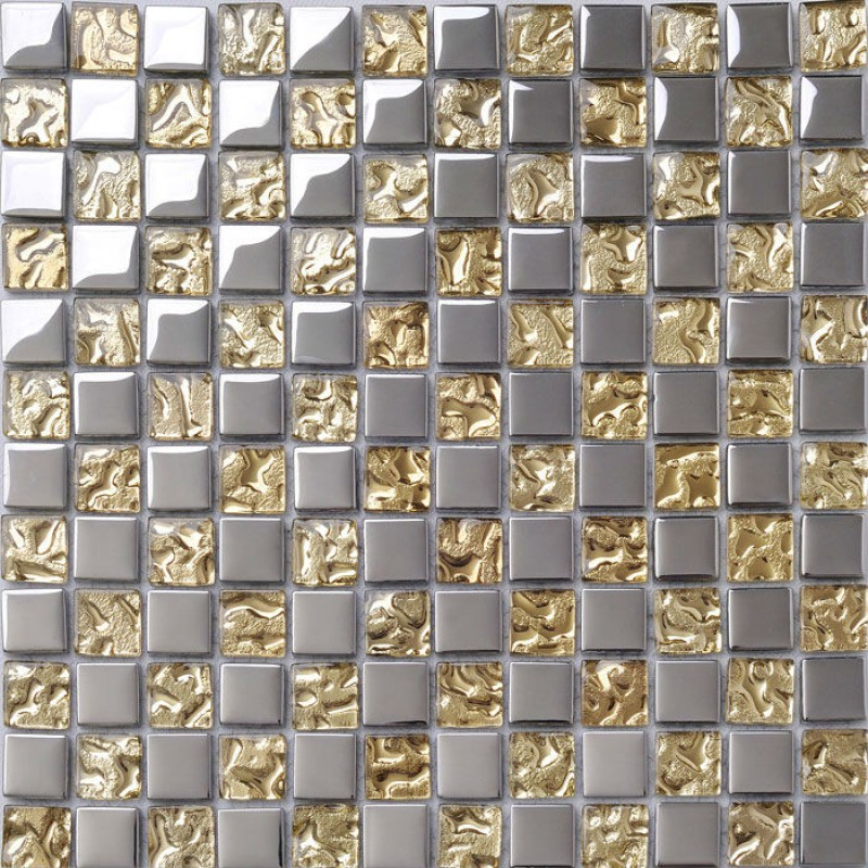 Crystal Glass Tile Sheets Metal Coating Tiles Mosaic Glass Tile ...