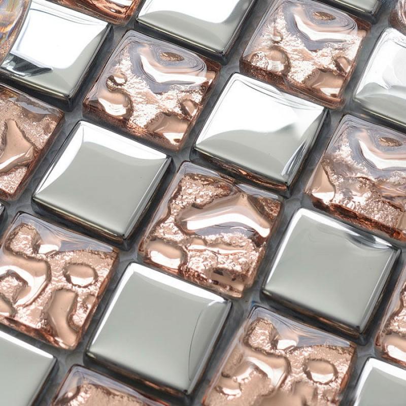 Glass mosaic tiles silver wallpaper kitchen backsplash for Silver kitchen wallpaper