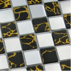 Glass Mosaic Tiles DU203 Wall Stickers Discount Tile Backsplash Kitchen Design Ideas Bathroom Floor Mirrored Crystal Mesh Sheet