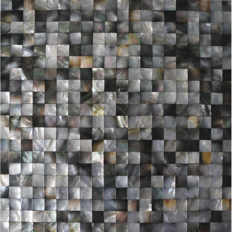 Seashell mosaic seamless mother of pearl tiles for backsplash in kitchen  black lip shell shower wall ...