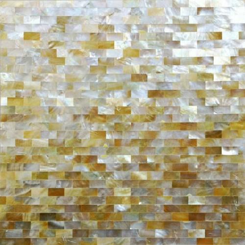 Natural golden shell subway tiles kitchen backsplash ideas bathroom walls mother of pearl mosaic seamless deepwater seashell DWS063
