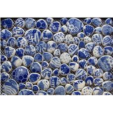 Porcelain mosaic tile kitchen backsplash pebble mosaic blue and whtie ceramic tiles wall stickers F121 bathroom floor tiles