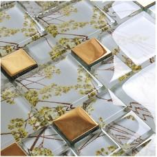 glass mosaic tile patterns plated gold crystal glass backsplash tiles bathroom mirror walls F206 kitchen back splash cheap home decor