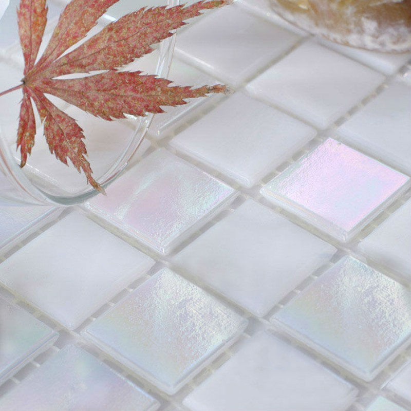 Glass Mosaic Tiles Sheet Iridescent Crystal Backsplash Liner Wall