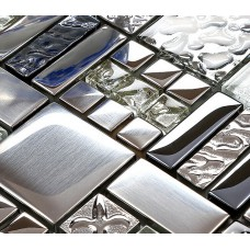kitchen backsplash tiles plated glass mosaic metal stainless steel crystal wall FD373 random mickey mouse patterns bathroom mirrored wall tiles