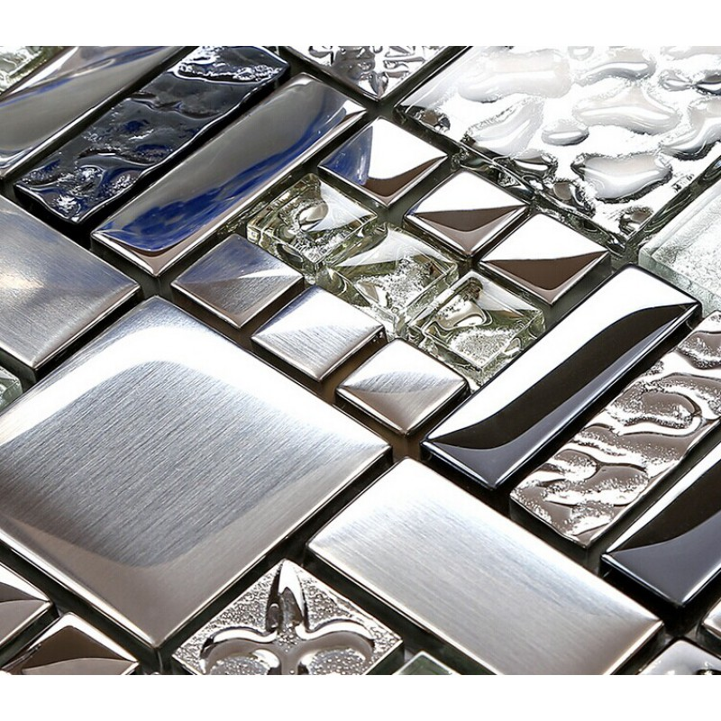 Kitchen Backsplash Tiles Plated Glass Mosaic Metal Stainless Steel Crystal Wall Fd373 Random Mickey Mouse Patterns Bathroom