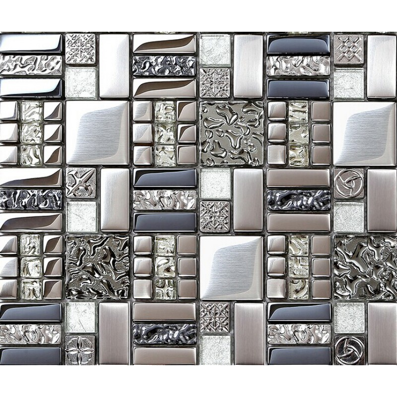 kitchen backsplash tiles plated glass mosaic metal