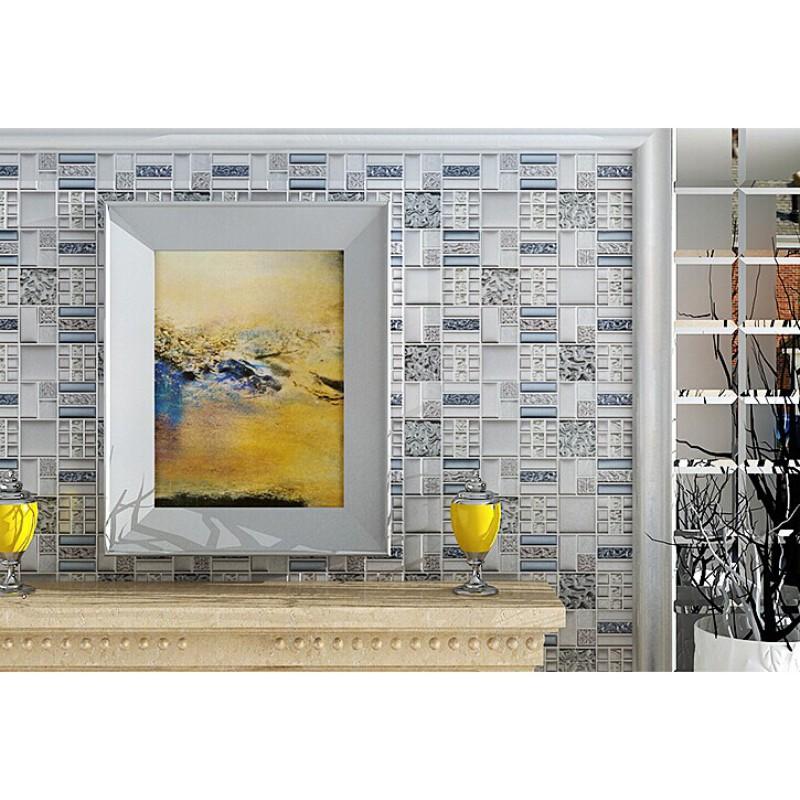 backsplash tiles plated glass mosaic metal stainless steel crystal ...