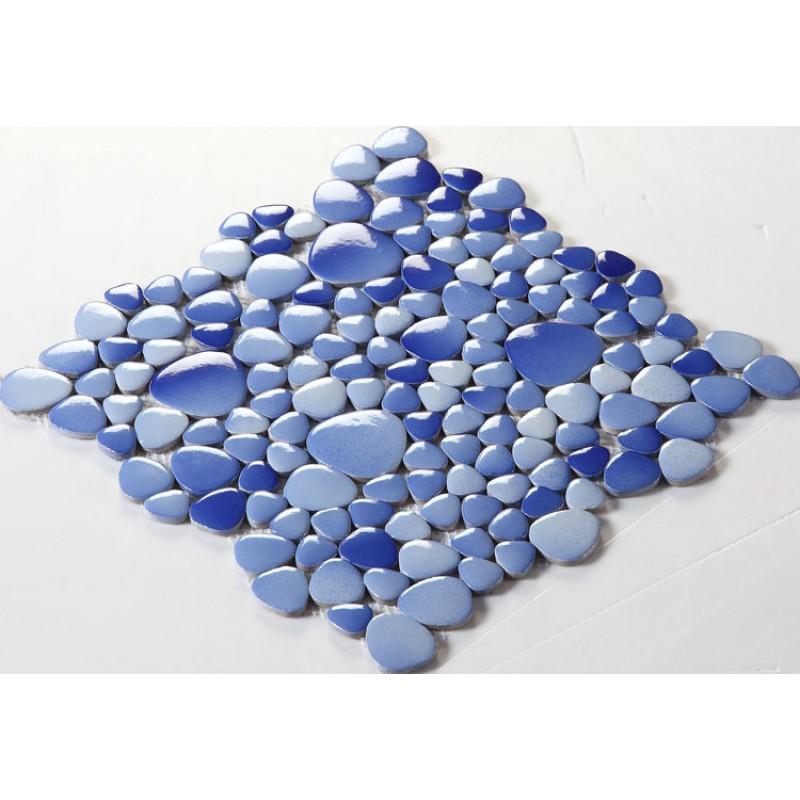mosaic tile backsplash cheap pebbles blue sky glazed tiles sheet ...