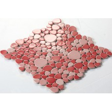 ceramic mosaic tile backsplash cheap pebbles red glazed tiles sheet wholesale porcelain pebble tile designs FS1702 bath wall swimming pool flooring