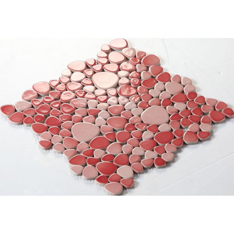 Ceramic Mosaic Tile Backsplash Cheap Pebbles Red Glazed Tiles Sheet Wholesale Porcelain Pebble