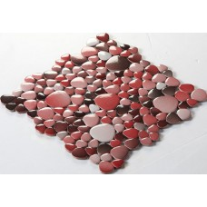 glazed porcelain pebble tile fambe kitchen backsplash cheap red and black ceramic mosaic sheets FS1711 bathroom floor designs shower wall coverings tiles